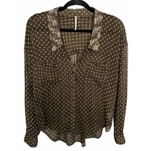 Free People Easy Rider Floral Dot Sheer Top Sz S